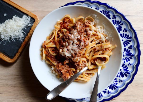 Bison Bolognese with Pasta and Cheese