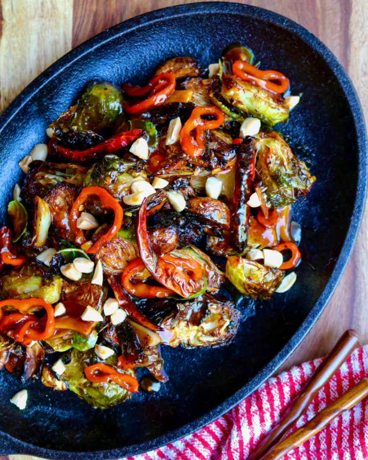 Spicy Kung Pao Brussel Sprouts in Cast Iron