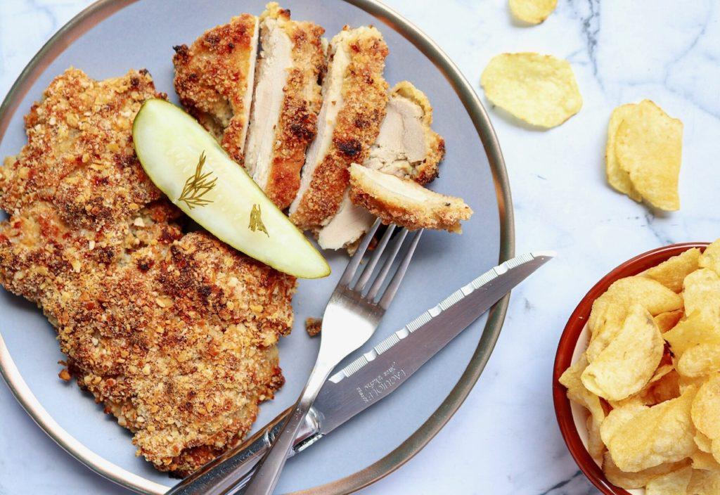 Delicious Dill Pickle & Potato Chip Chicken Schnitzel